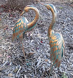 Copper Patina Heron Pair Garden Stake 3D Yard Art Bird Sculpture
