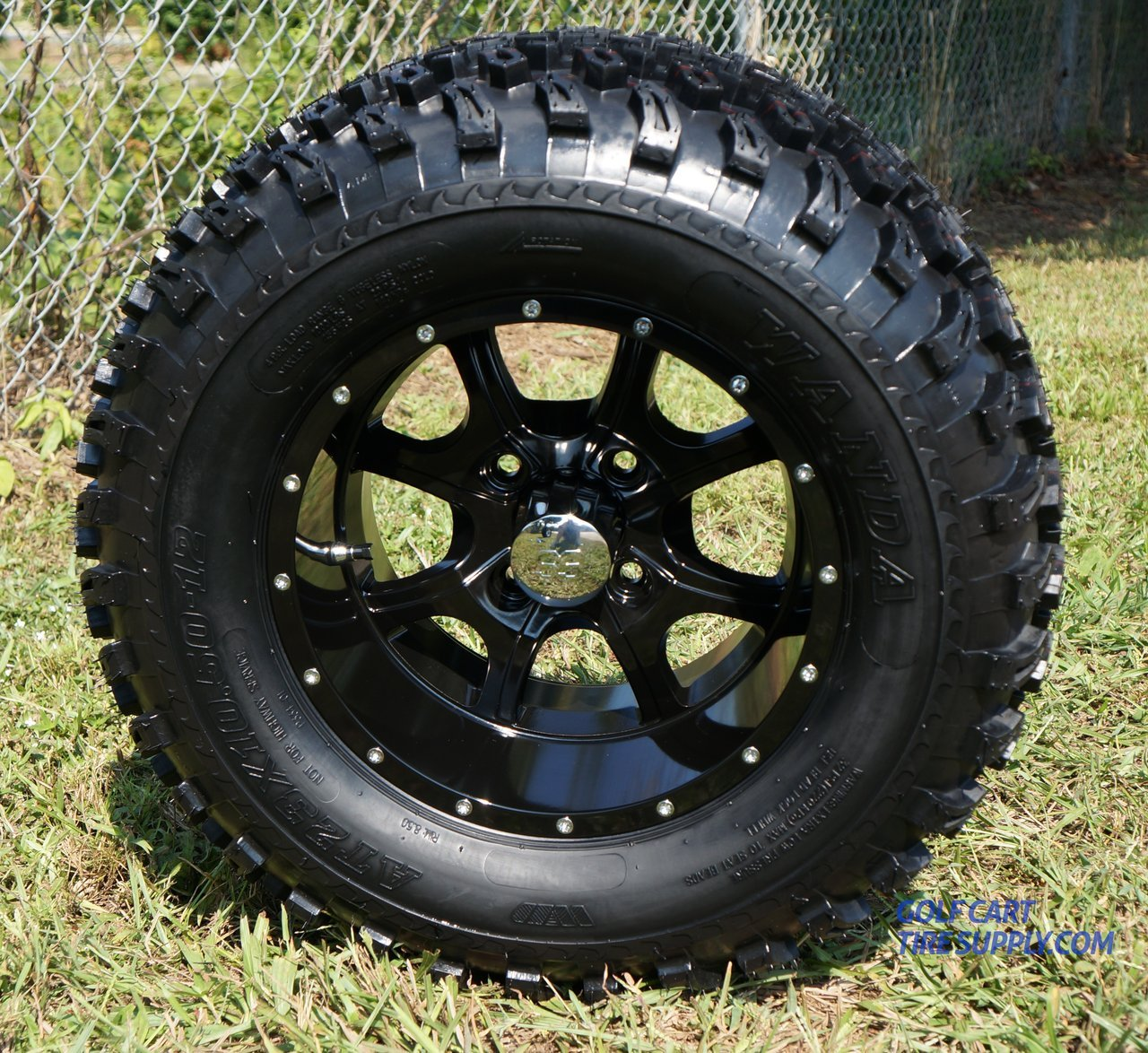 12'' STALKER Black Aluminum Wheel and 23'' All Terrain Golf Cart Tires Combo - Set of 4