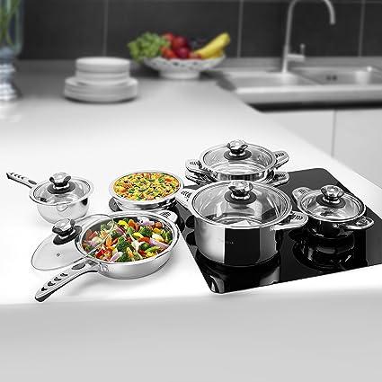 Velaze Juego de Ollas, Batería de Utensilios de Cocina de Cocina de Acero Inoxidable para Todas las Fuentes de Calor (16 Piezas)