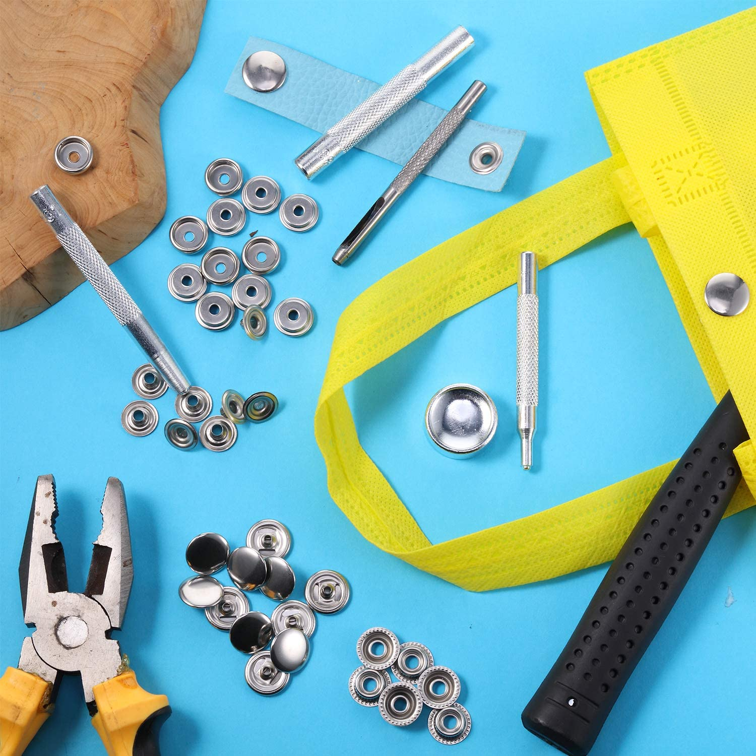 300 Pieces 15mm Stainless Steel Fastener Snap Press Stud Button with 5 Pieces Punching Tools Kit for Marine Boat Canvas Leather Craft Sewing 4 Components