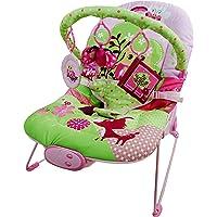 Just4baby - Silla reclinable con 3 juguetes colgantes, diseño de búho musical, color rosa y verde
