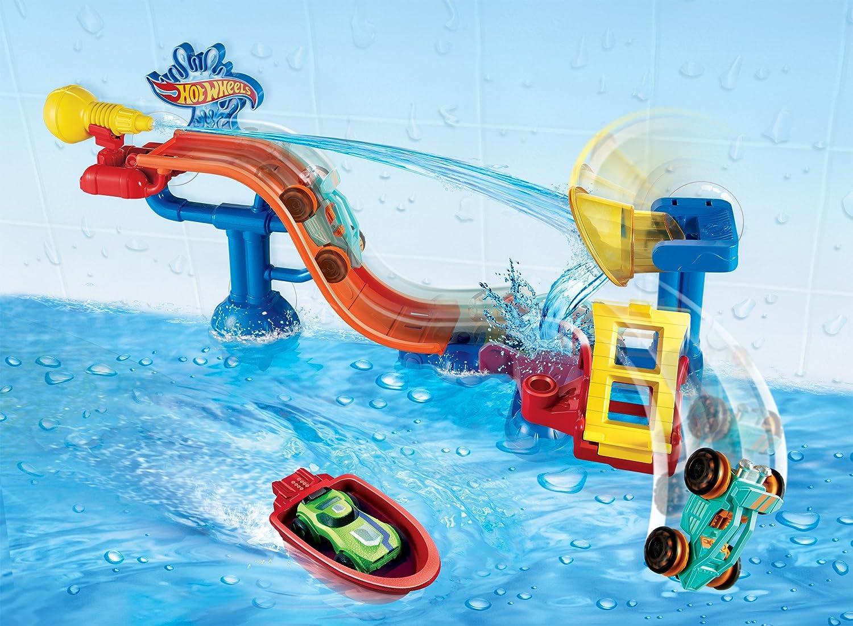 amazoncom hot wheels splash rides splashdown station play set toys games