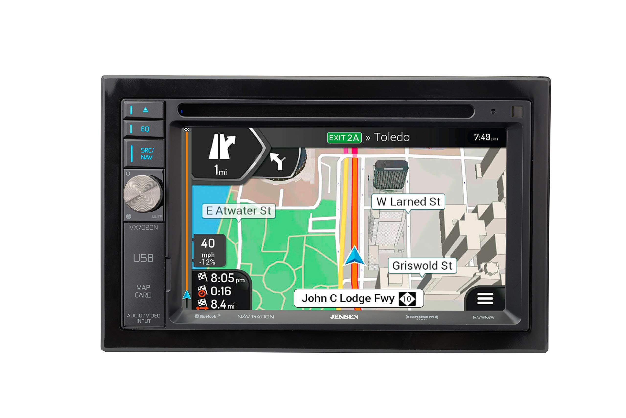 Jensen VX7020N 6.2-inch LED Backlit LCD Multimedia Touch Screen Double DIN Car Stereo with Built-In Navigation, Bluetooth, CD/DVD Player & SiriusXM-Ready by Jensen