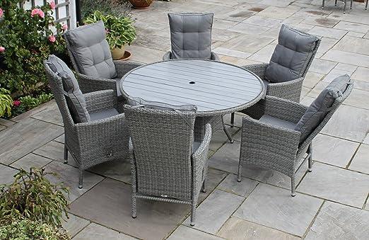 Deluxe Amelie grande 6 asiento redondo gris sillón reclinable jardín conjunto de comedor de ratán con cojines: Amazon.es: Jardín