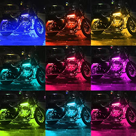 DITRIO 12Pcs Motorcycle LED Light Kit Strips Multi-Color Accent Glow on