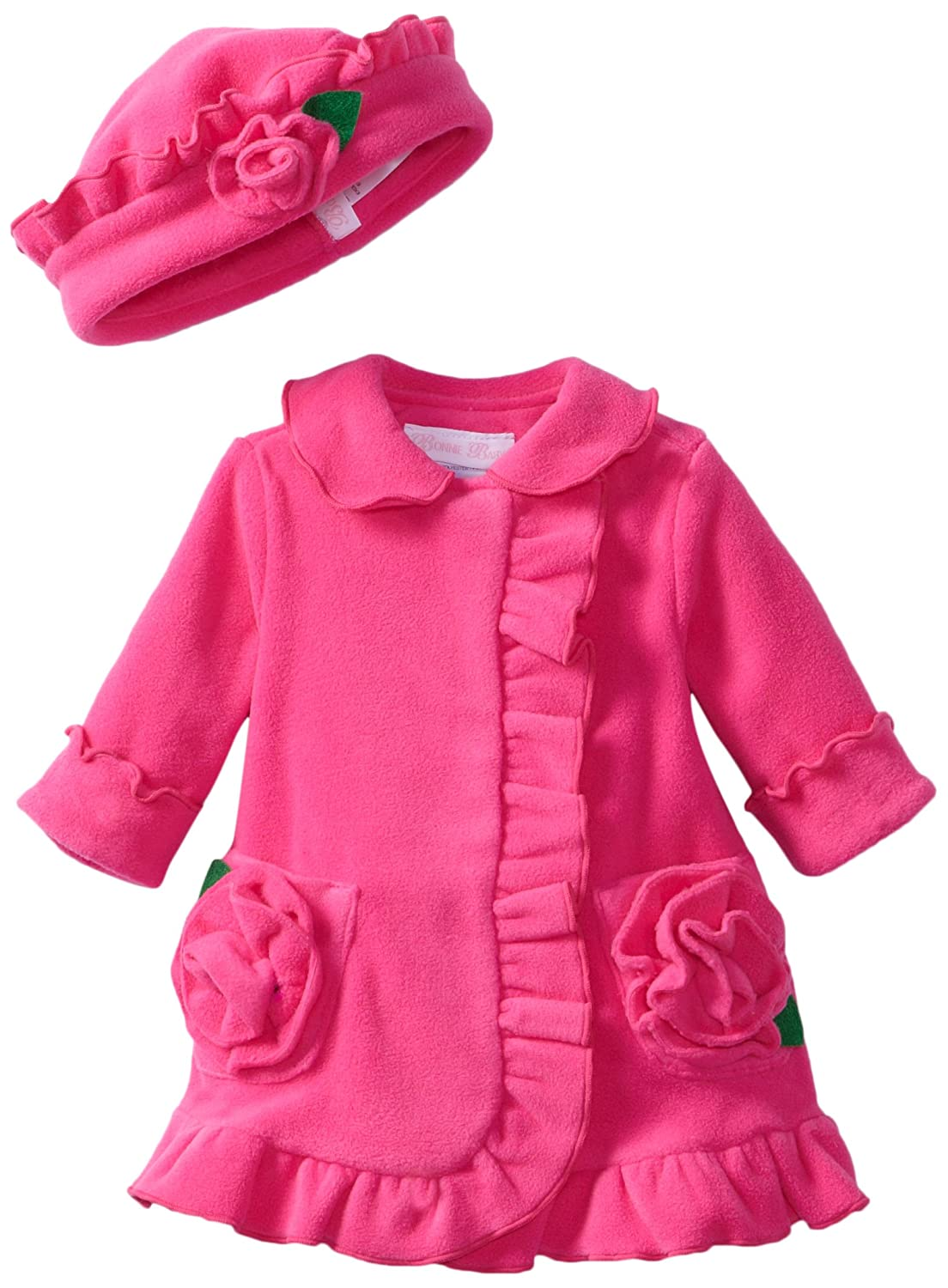 Bonnie Baby-girls Newborn Ruffle Fleece Coat And Hat Set