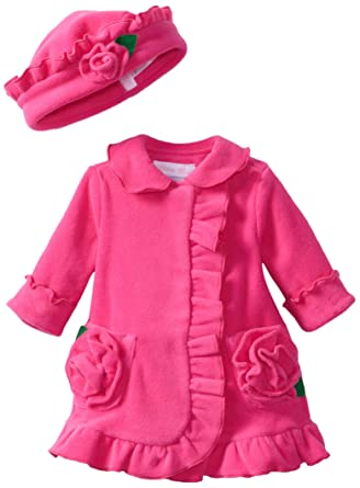 Amazon.com: Bonnie Baby-girls Newborn Ruffle Fleece Coat And Hat ...