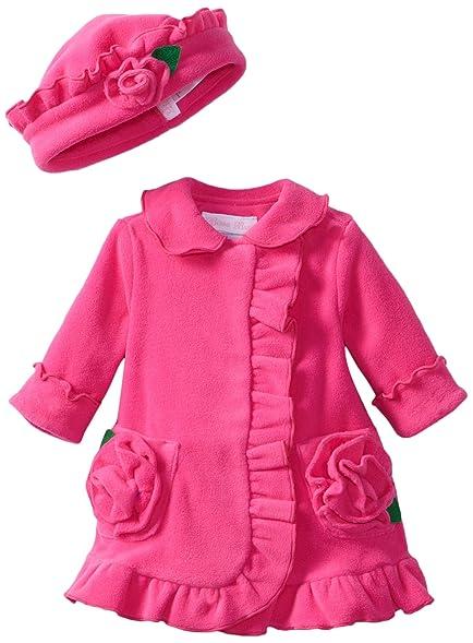 Amazon.com  Bonnie Baby-girls Newborn Ruffle Fleece Coat And Hat Set ... 8c3f239bf3a