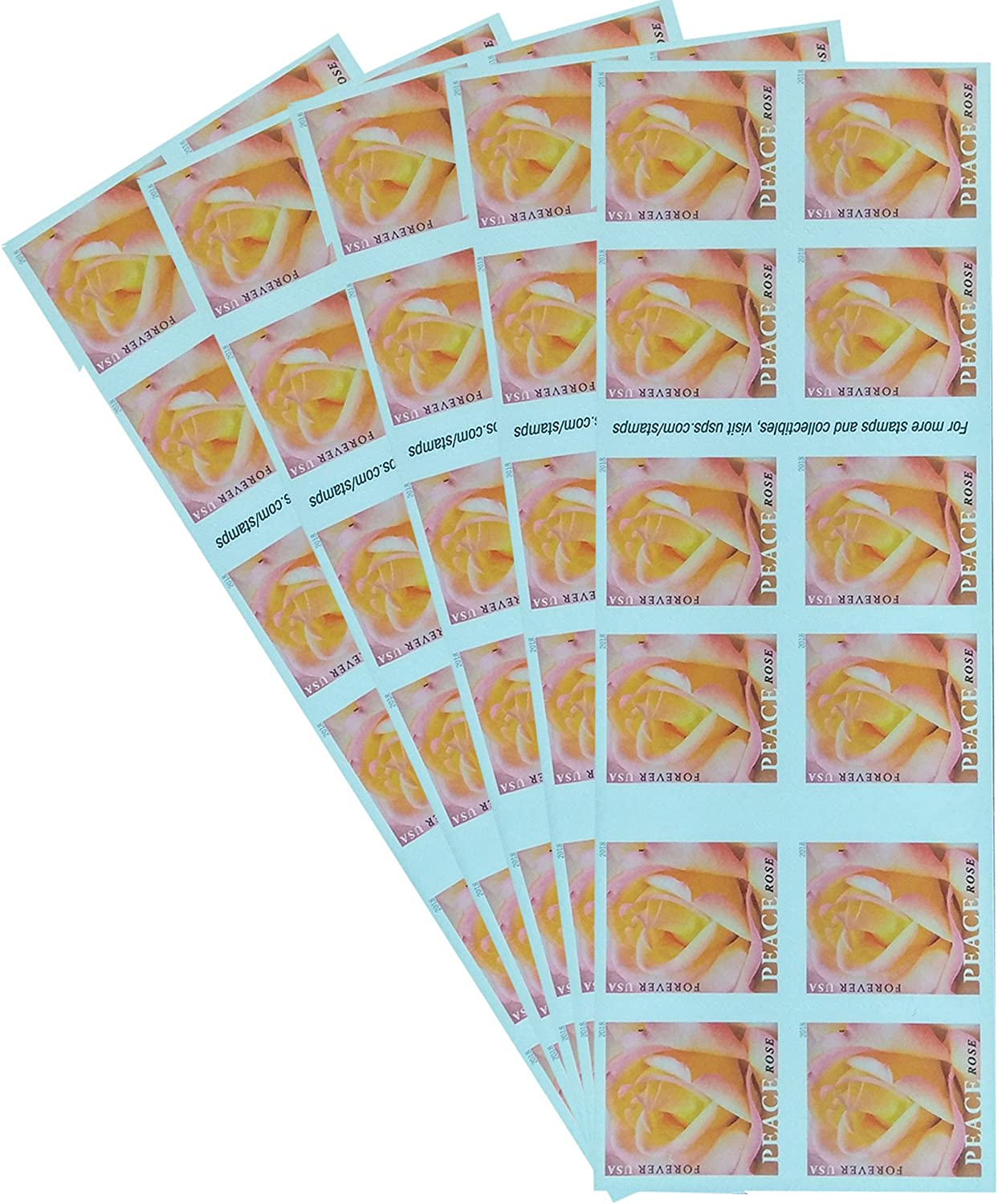 Peace Rose 5 Books of 20 Forever USPS Postage Stamp Wedding Engagement Celebration Love (100 Stamps)