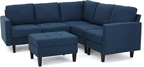 Christopher Knight Home Zahra Fabric Sectional Couch with Ottoman, 6-Pcs Set, Dark Blue