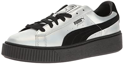 Puma Women's Basket Platform Explosivewns Fashion Sneaker, Black Black, 7 M US