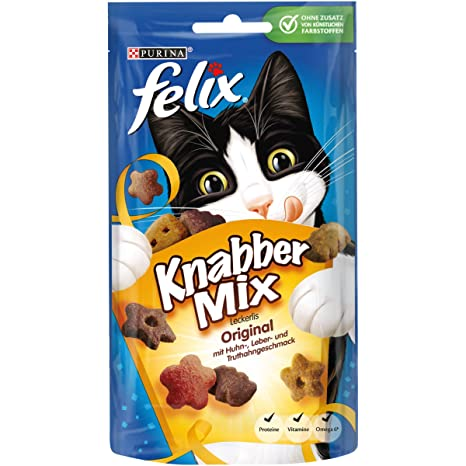 Felix Golosinas para gatos Knabber Mix, pack de 8 (8 paquetes de 60 g