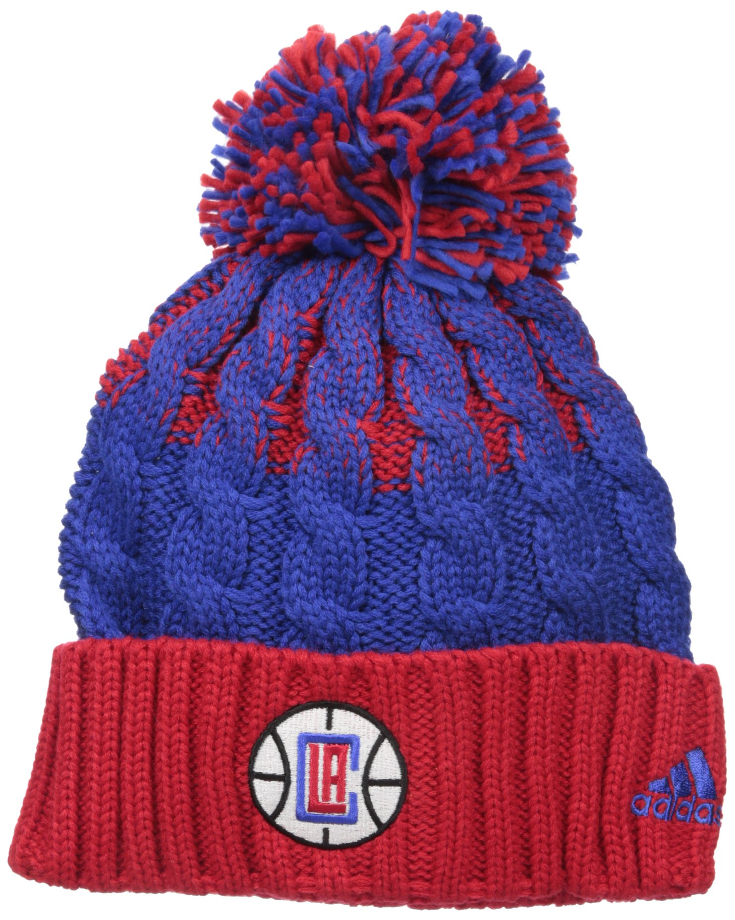 adidas NBA Los Angeles Clippers Retro Cuffed Knit With Pom, Red/Blue, One Size