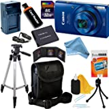 Canon PowerShot ELPH 190 IS Wi-Fi Digital Camera with 10x Zoom & HD video, BLUE + Battery & AC/DC Charger + 10pc 32GB Deluxe Accessory Kit DigitalAndMore Microfiber Cloth