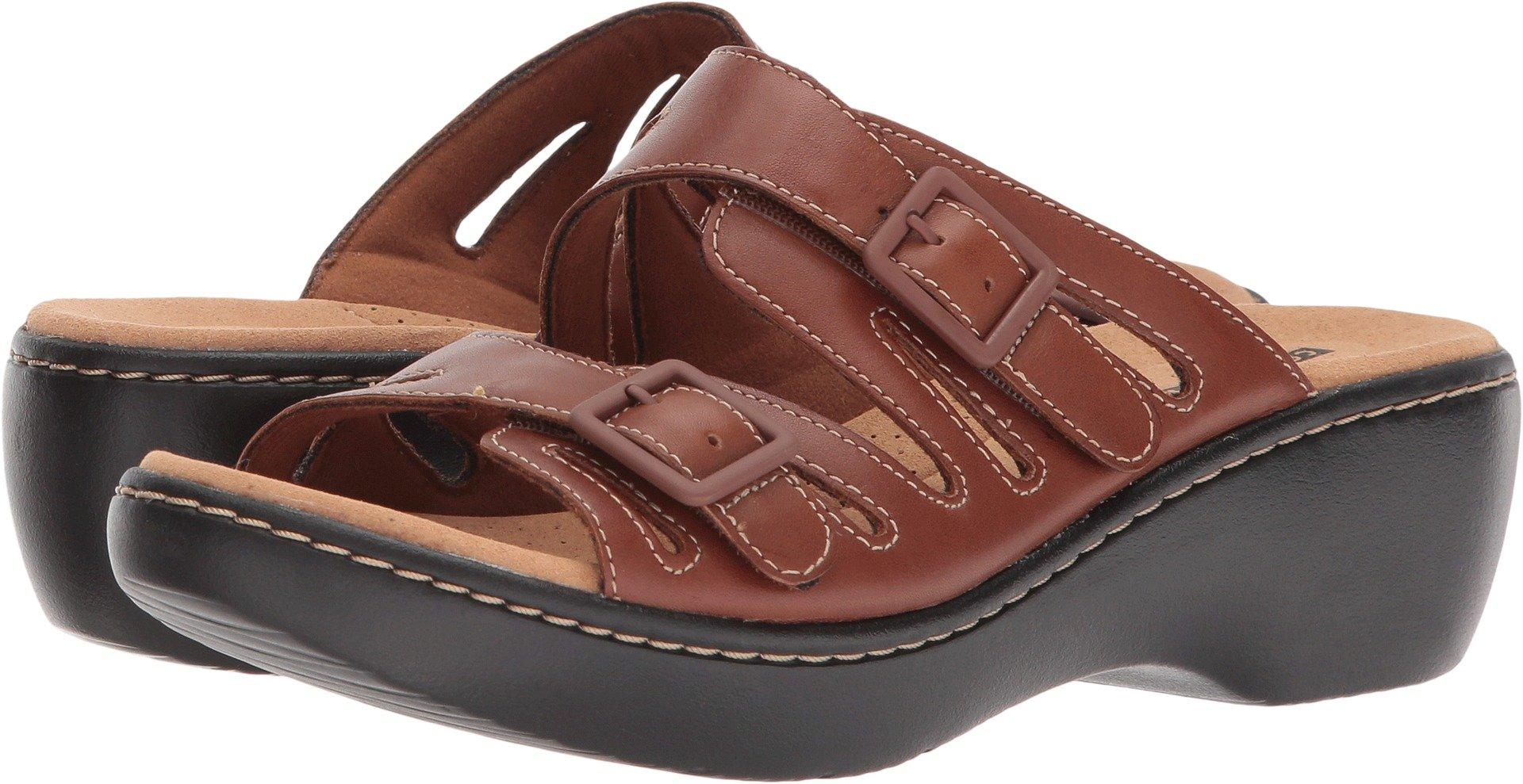 CLARKS Women's Delana Liri Platform, Dark tan Leather, 5 B(M) US