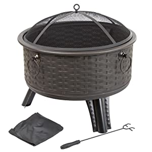 "Fire Pit Set, Wood Burning Pit -Includes Screen, Cover and Log Poker- Great for Outdoor and Patio, 26 Inch"" Woven Metal Round Firepit by Pure Garden"