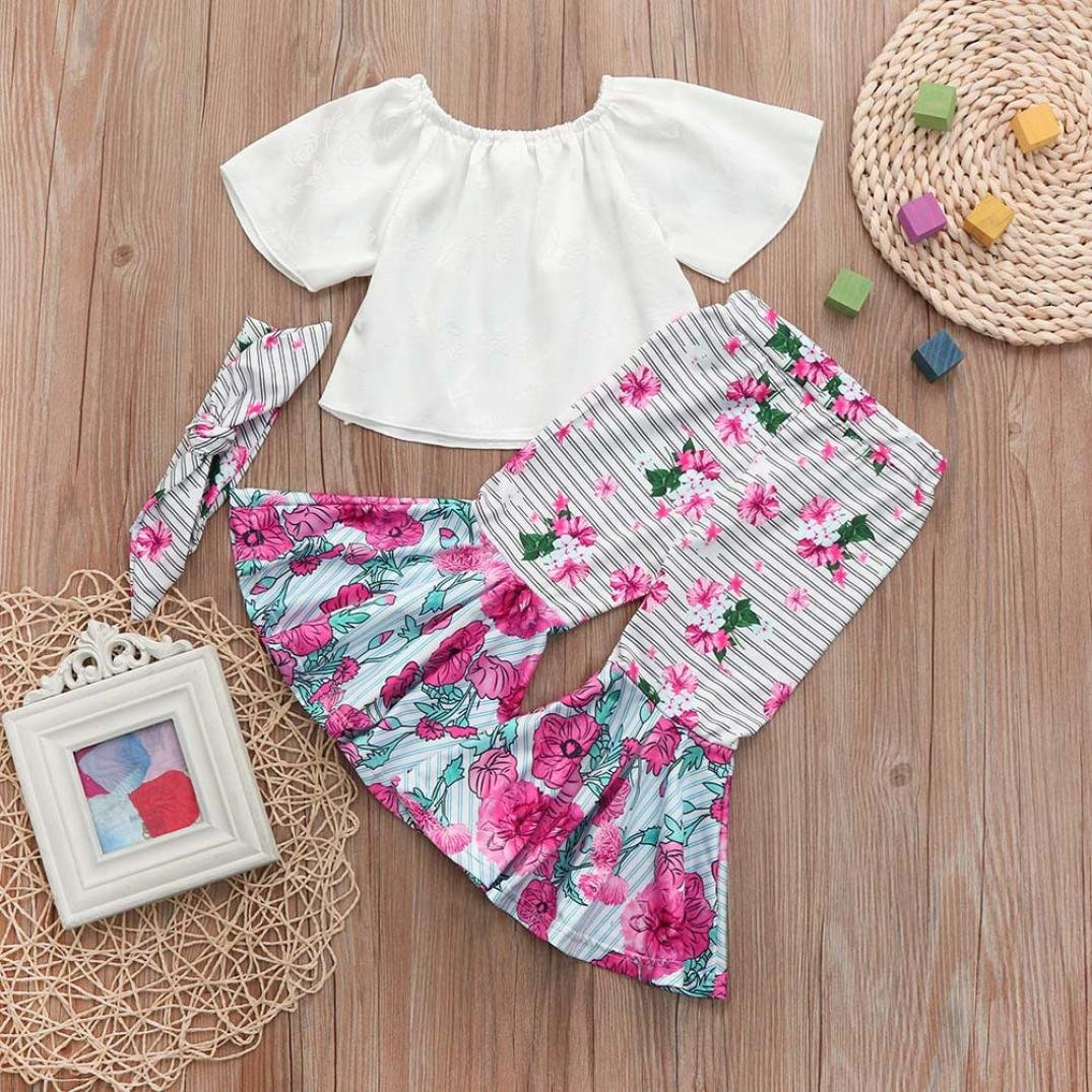 WARMSHOP 2018 Baby Girls Solid Color Off Shoulder Tank Tops+Flower Striped Flare Trousers Pants with Free Headbands