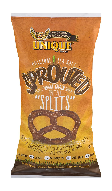 Unique Pretzels - Sprouted Splits Pretzels, Delicious Vegan Snack Pretzels Individual Pack, Large OU Kosher Pretzels, 8 Ounce Bag