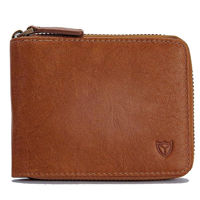 Men's Genuine Leather Wallet,RFID Blocking Zip Around Bifold Multi Purse Brown