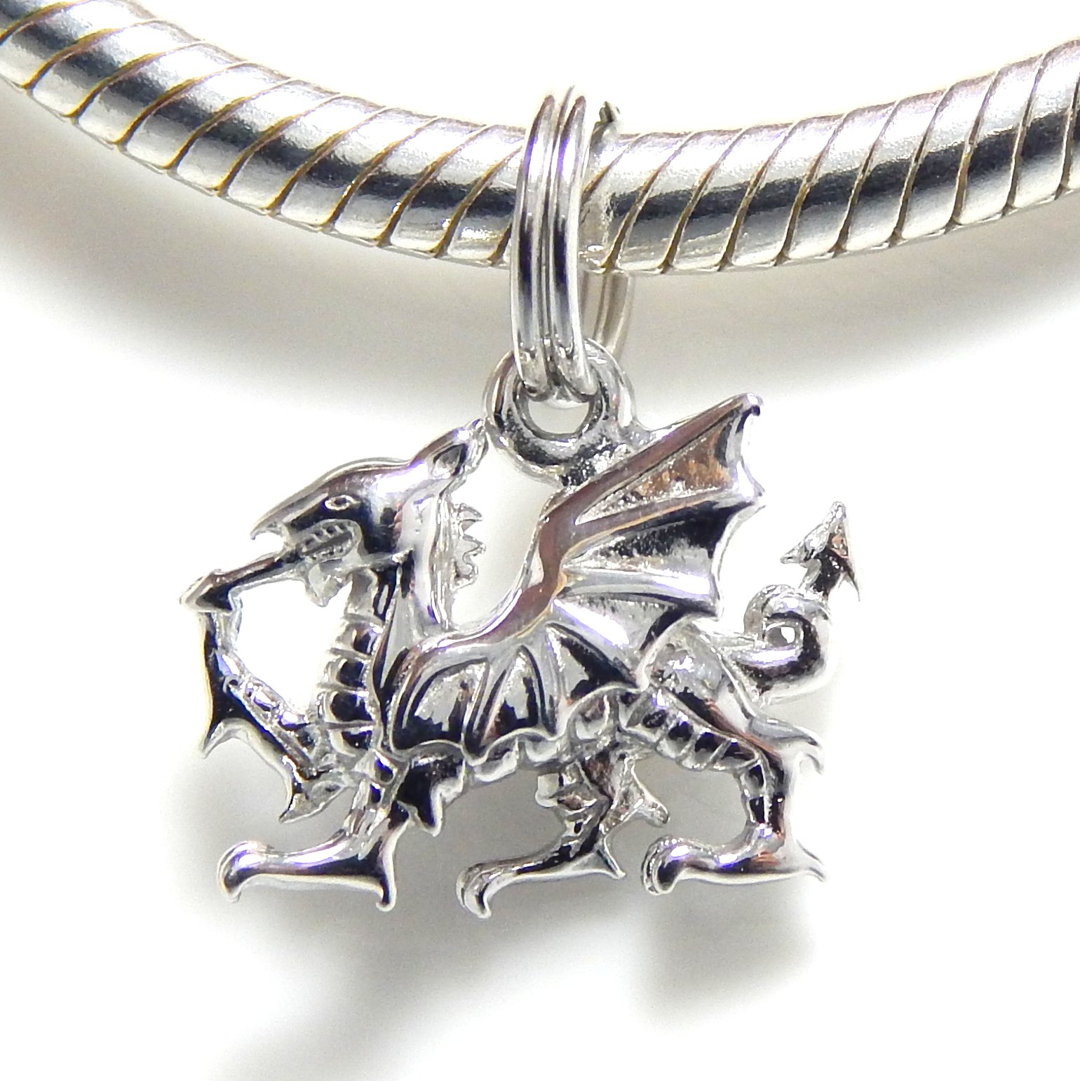 Pro Jewelry .925 Sterling Silver Dangling ''Dragon'' Split Ring Top Charm Bead for Snake Chain Charm Bracelet ESR JB 5090 RP