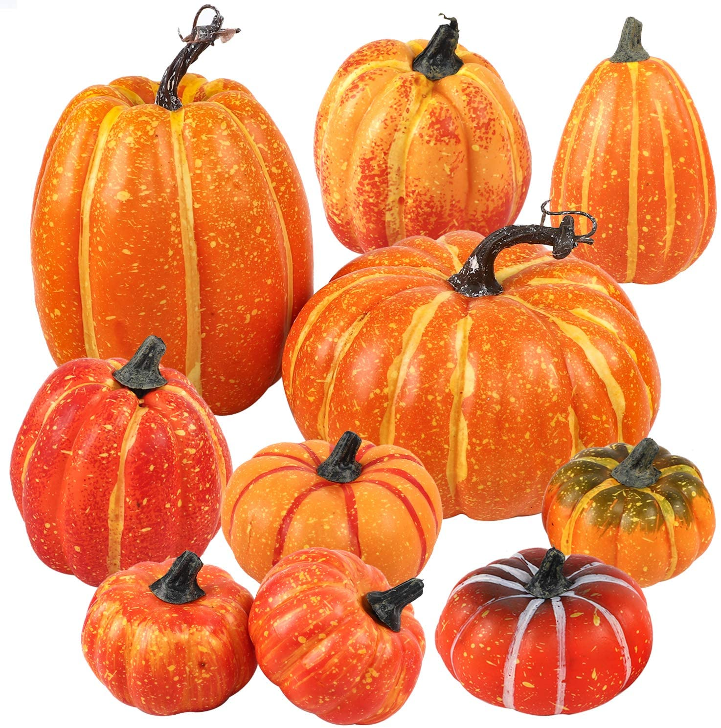 FUNARTY Package of 10 Harvest Artificial Pumpkins Assorted Size Fall Pumpkins for Autumn, Halloween and Thanksgiving Decorating