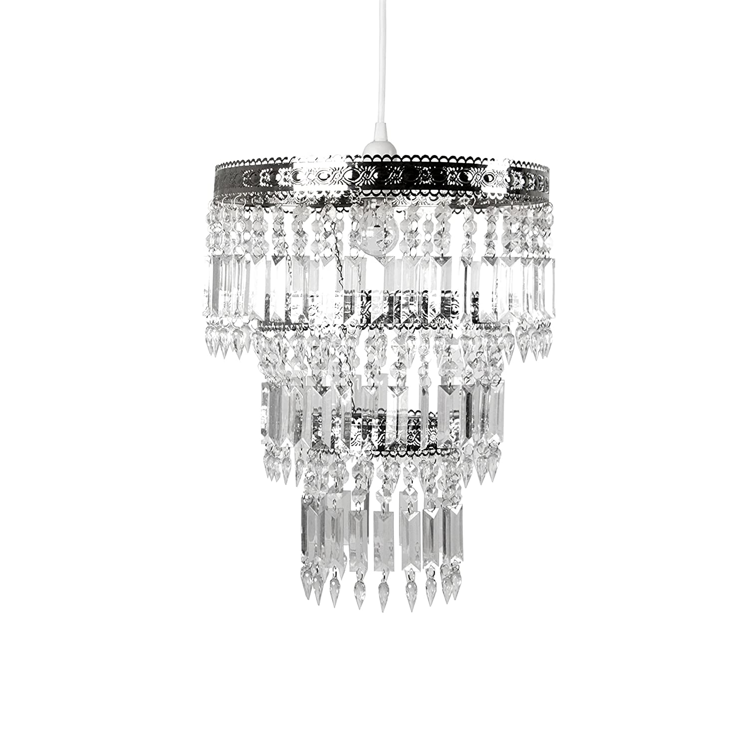 Amazon com tadpoles faux crystal s crown shade large chandelier style home kitchen
