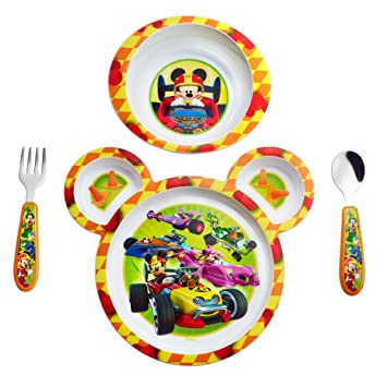 The First Years Disney Baby Mickey Mouse 4-Piece Feeding Set  sc 1 st  Amazon.com : mickey mouse dinnerware set - pezcame.com
