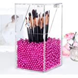 PuTwo Acrylic Makeup Organizer with Rosy Pearls 5MM Case, Large