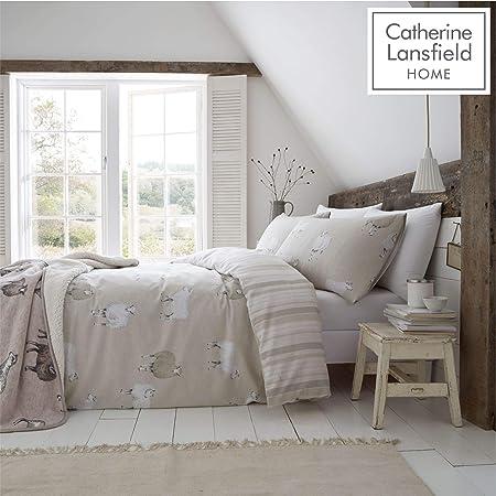 Catherine Lansfield Brushed Cotton Sheep King Duvet Set Natural: Amazon.co.uk