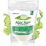 Agar Agar Powder (4oz), Unflavored Pure Vegan Gelling Agent by LIVING JIN, Certified Kosher, Halal, Non-GMO, Gluten-Free, Ket