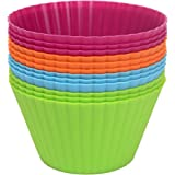 """Webake 3.5"""" 12-pack Silicone Baking Cups Reusable Muffin Cupcake Liner"""
