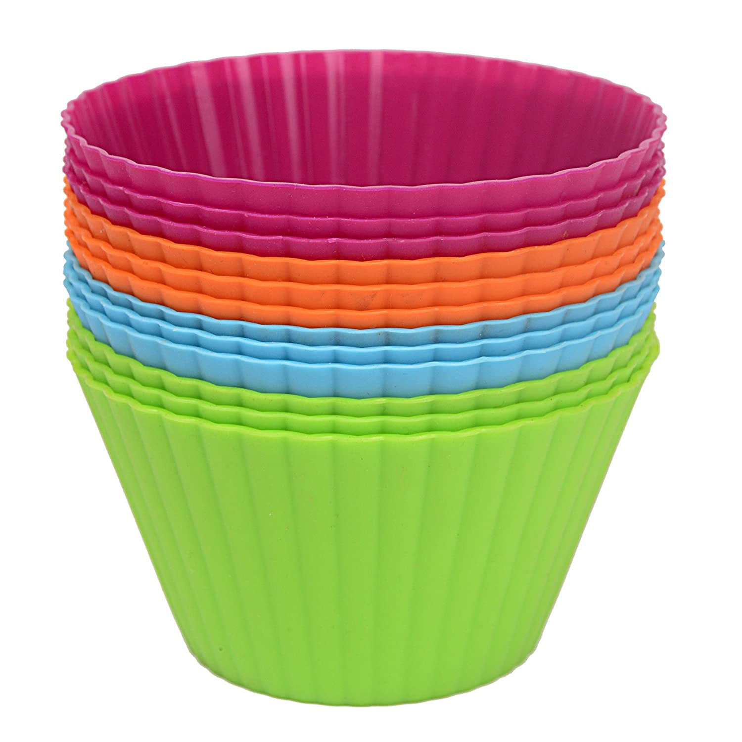 Webake 3.5'' Large Silicone Baking Cups, Cupcake Liners, Muffin Cups, 12-Pack