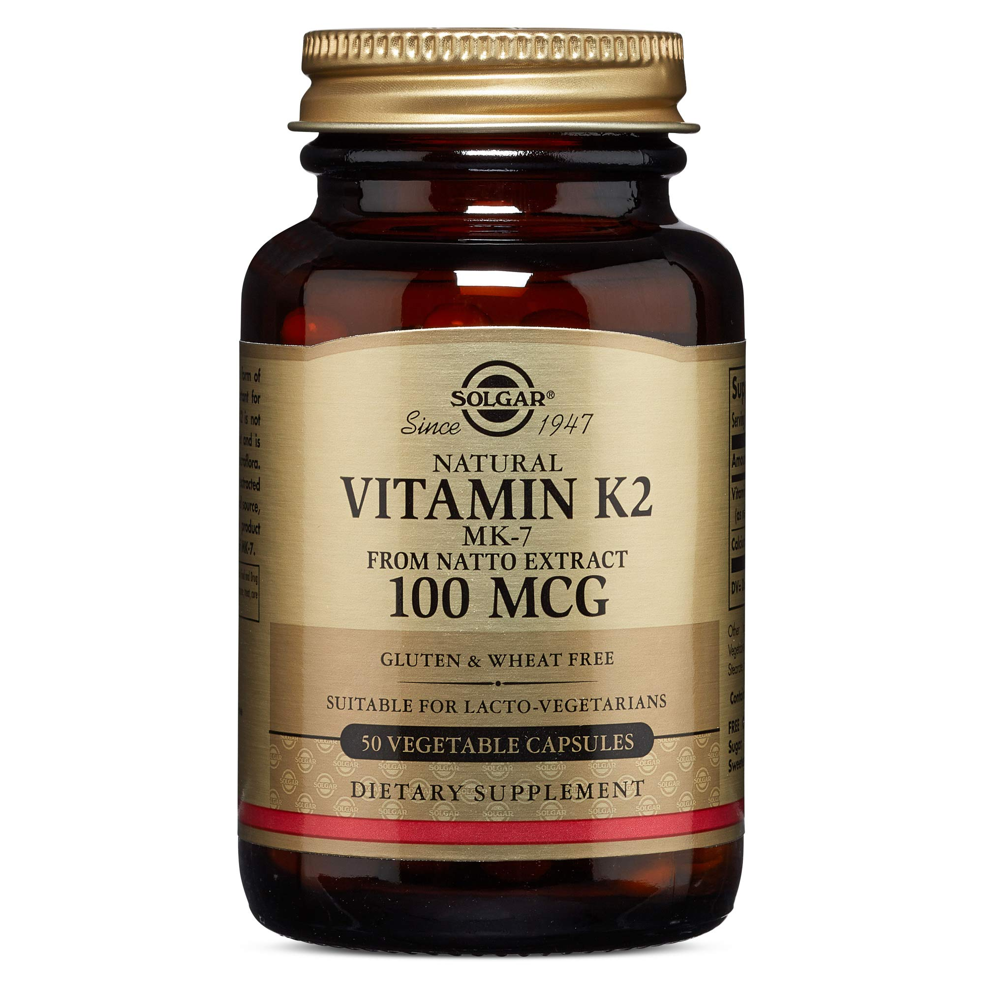 Solgar - Naturally Sourced Vitamin K2 (MK-7) 100 mcg, 50 Vegetable Capsules by Solgar