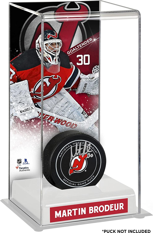 Sports Memorabilia Martin Brodeur neu Jersey Devils Deluxe Tall Hockey Puck Case - Hockey Puck Free Standing Display Cases