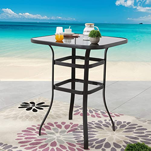Festival Depot 40″ Bar Height Outdoor Patio Bistro Table Metal Square Side Table Tempered Glass Top All Weather 31.5″x 31.5″x 41.2″H