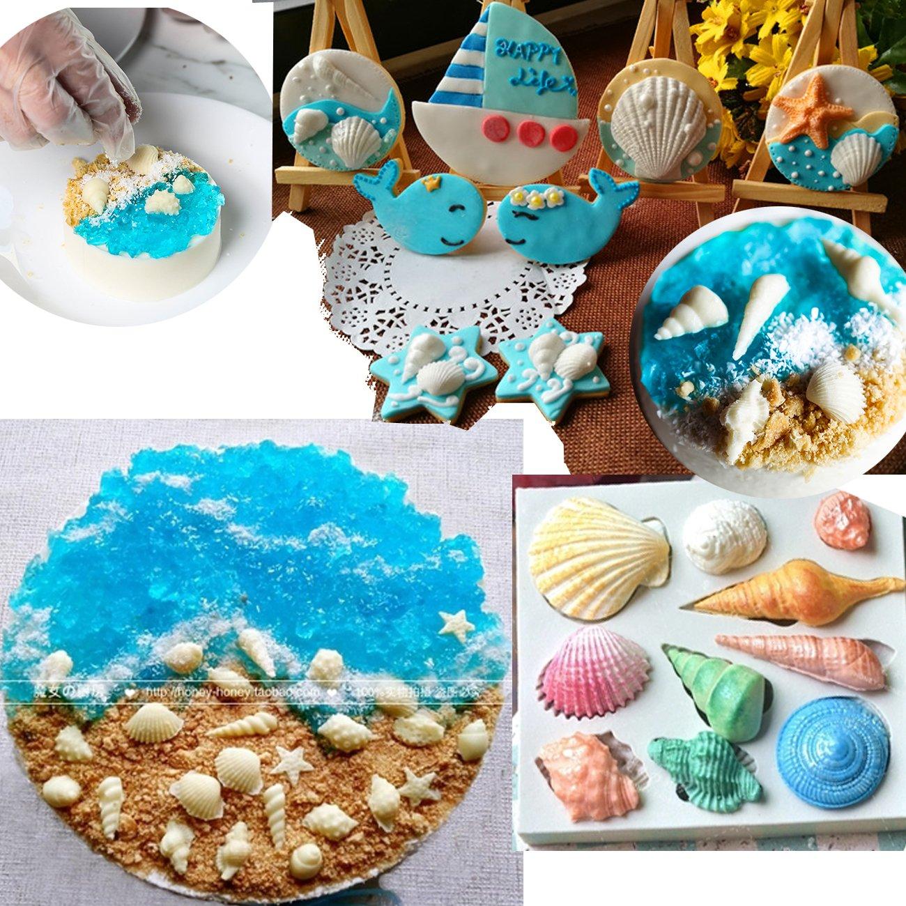 Anyana mini Sea Shell Conch scallop starfish silicone mould beach cake Fondant gum paste mold for Sugar paste birthday party cupcake decorating topper decoration sugarcraft decor set of 2