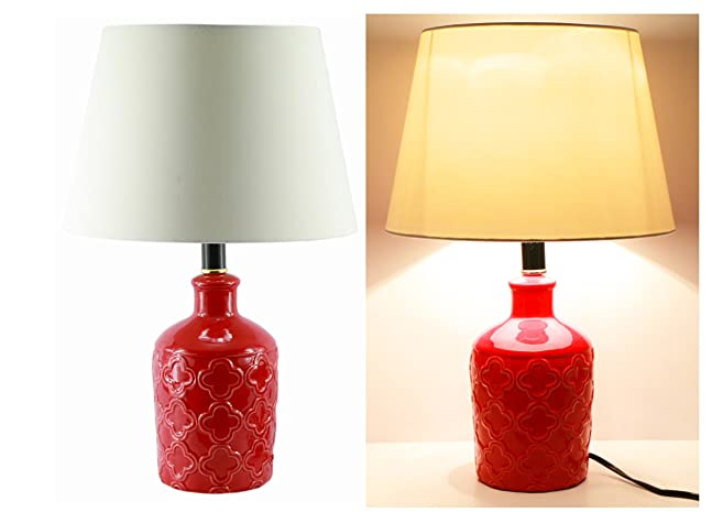 19 Ceramic Flower Vase Red Finish Classic Table Lamp 1 Amazon