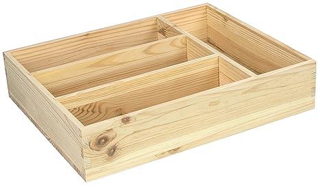 Hojas Lust – Cubertero (con 4 Compartimentos para Guardar – Pino sin Tratamiento Aprox.