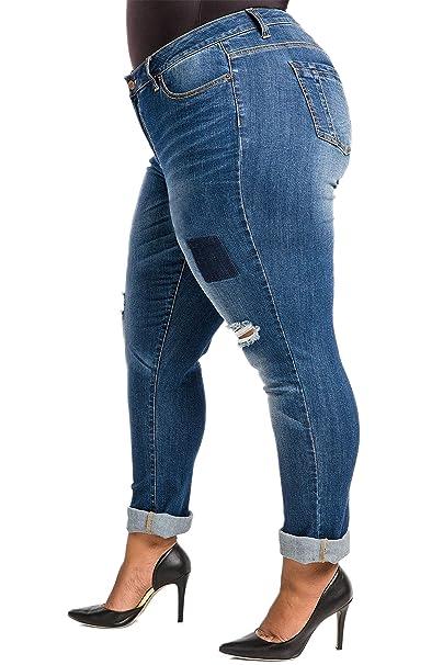 0ca0d51b5d4 Poetic Justice Plus Size Women s Curvy Fit Vintage Destroyed Boyfriend  Jeans Size 14 Blue