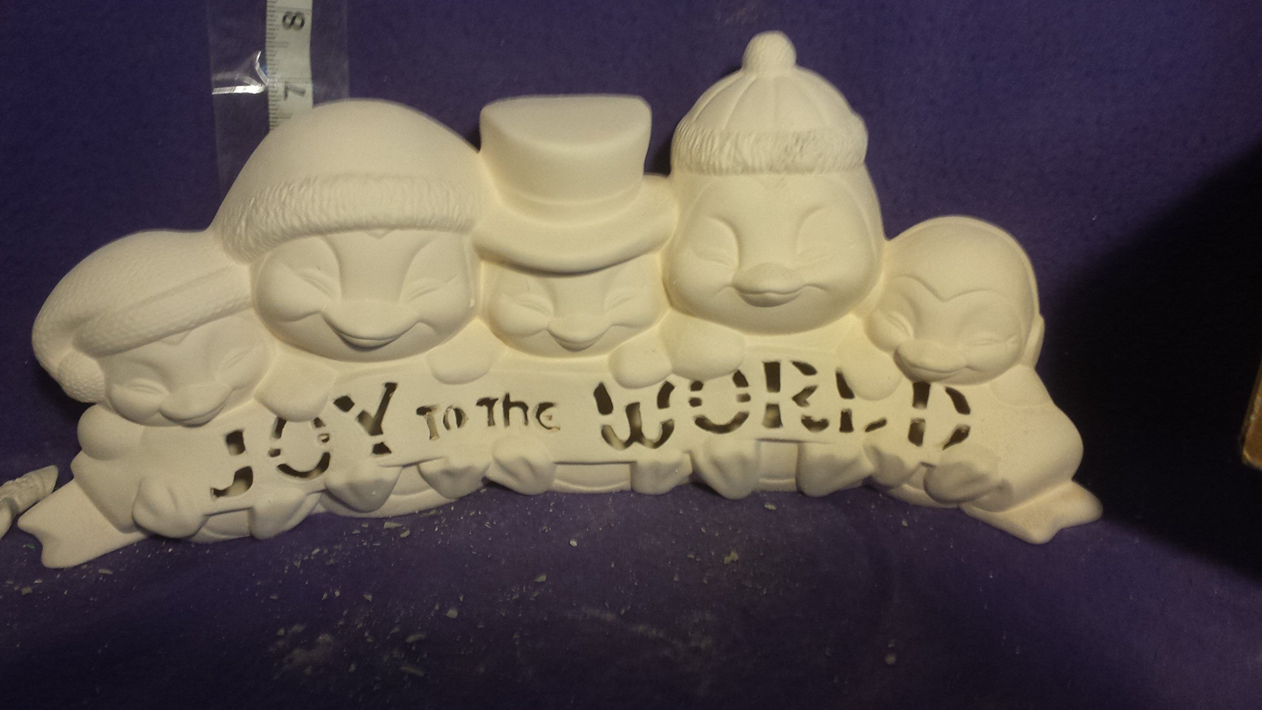 Joy To The World Penguins 15 1/2'' Ceramic Bisque. Clip light included
