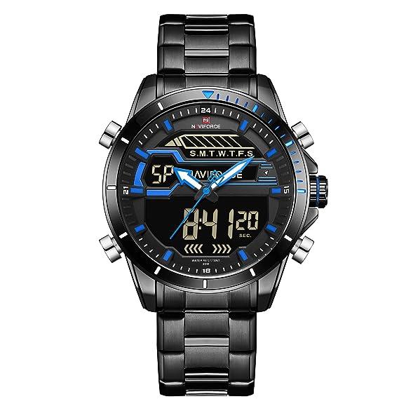 Naviforce Reloj de Pulsera analógico Digital de Acero Inoxidable para Hombre, Estilo Militar y Deportivo