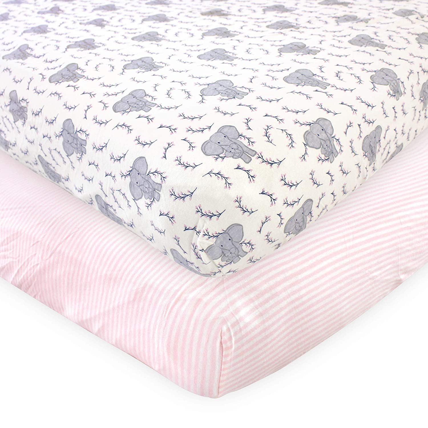 Touched by Nature Organic Cotton Fitted Crib Sheets, Girl Elephant 2 Pack, One Size
