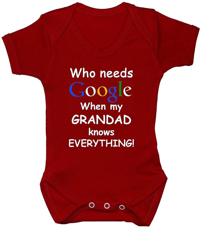 Who Needs Google When My Grandad Knows Everything Baby Grow/Bodysuit/Romper/T-Shirt/Vest Newborn-24m