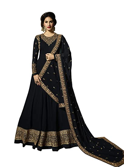83fe79c99986 ShopVilla Fashion Georgette Embroidered Semi-stitched Salwar Suit Dupatta  Material (Semi Stitched)  Amazon.in  Clothing   Accessories