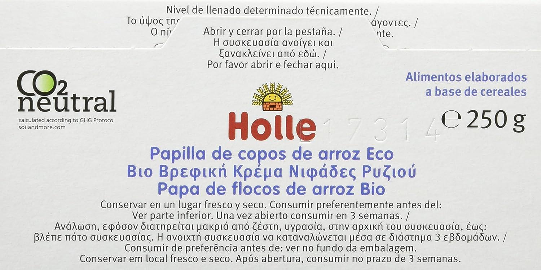 Holle Papilla de Copos de Arroz (+4 Meses) sin Gluten - Paquete de 6 x 250 gr - Total: 1500 gr
