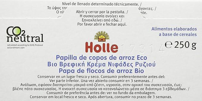 Holle Papilla de Copos de Arroz (+4 Meses) sin Gluten - Paquete de 6 x 250 gr - Total: 1500 gr: Amazon.es: Alimentación y bebidas