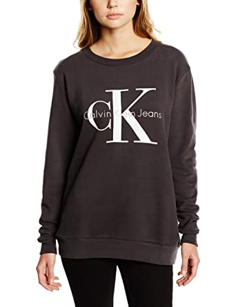 9d07b31b4154 Calvin Klein Jeans Damen Sweatshirt Crew Neck HWK True Icon  Amazon.de   Bekleidung