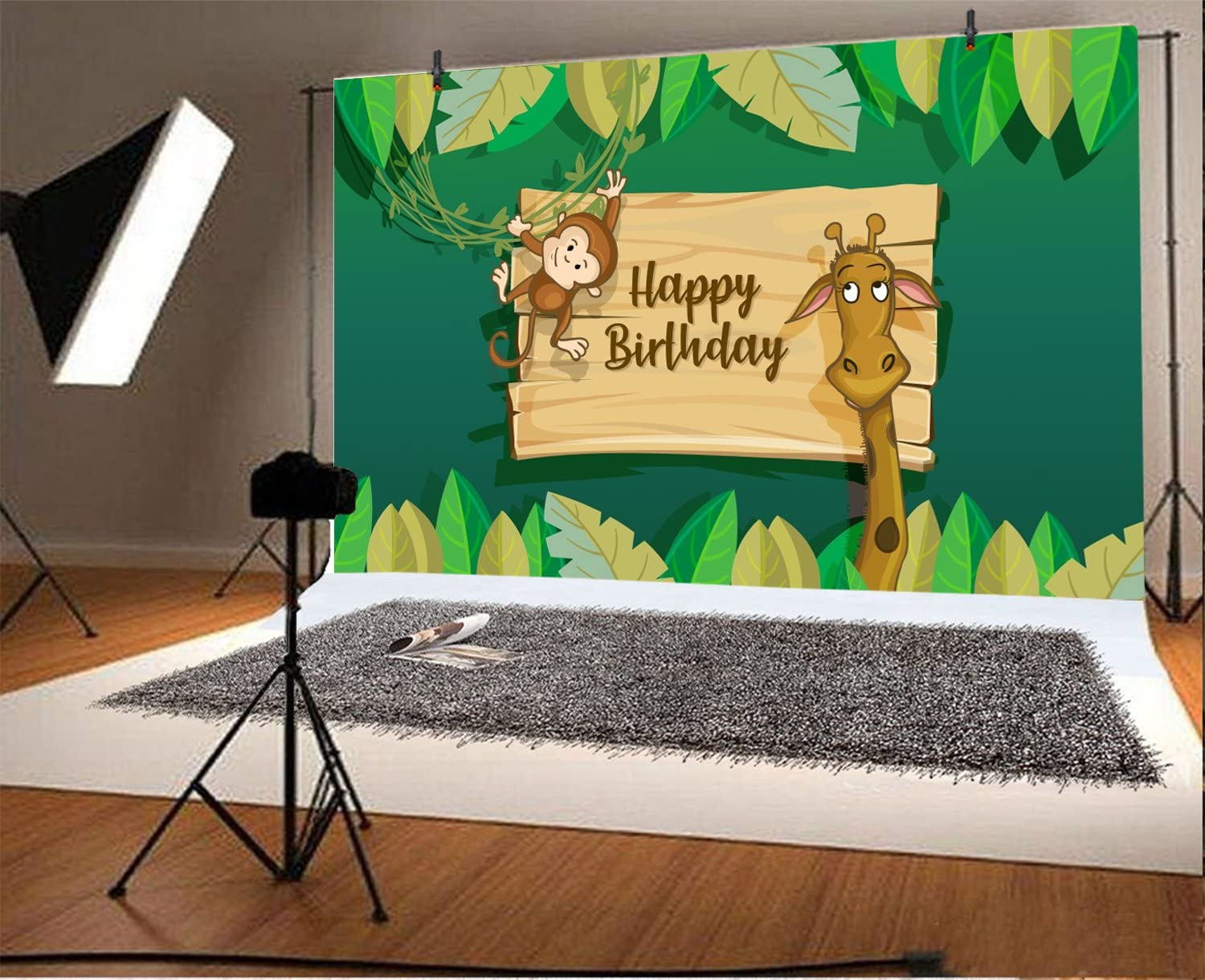 Studio LFEEY 5x3ft Happy Birthday Photography Backdrop Cartoon Wallpaper Green Leaves Kids Children Party Banner Giraffe Monkey Background for Photos,Booth
