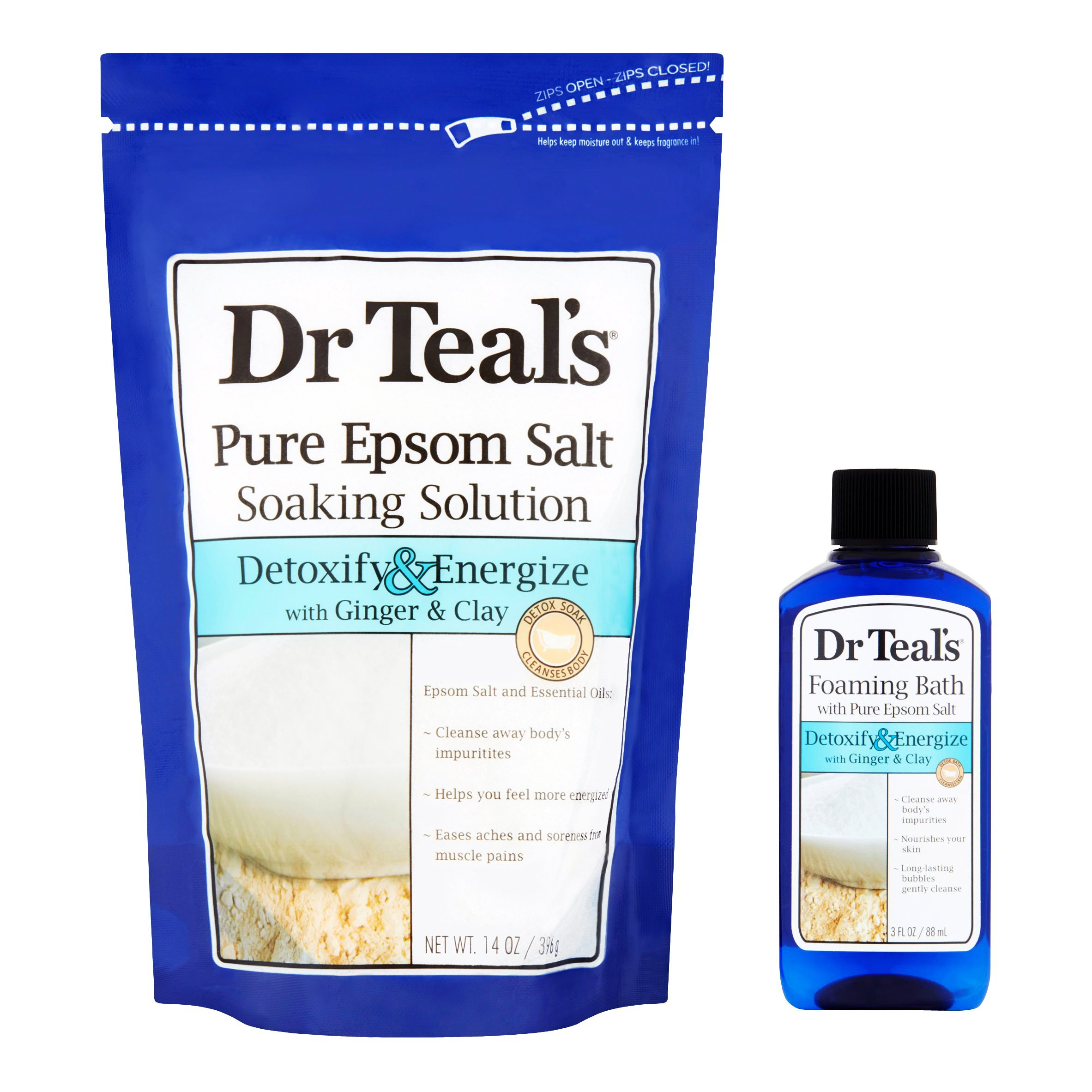 Dr Teal's Detox with Ginger & Clay 2-Piece Bath Travel Gift Set