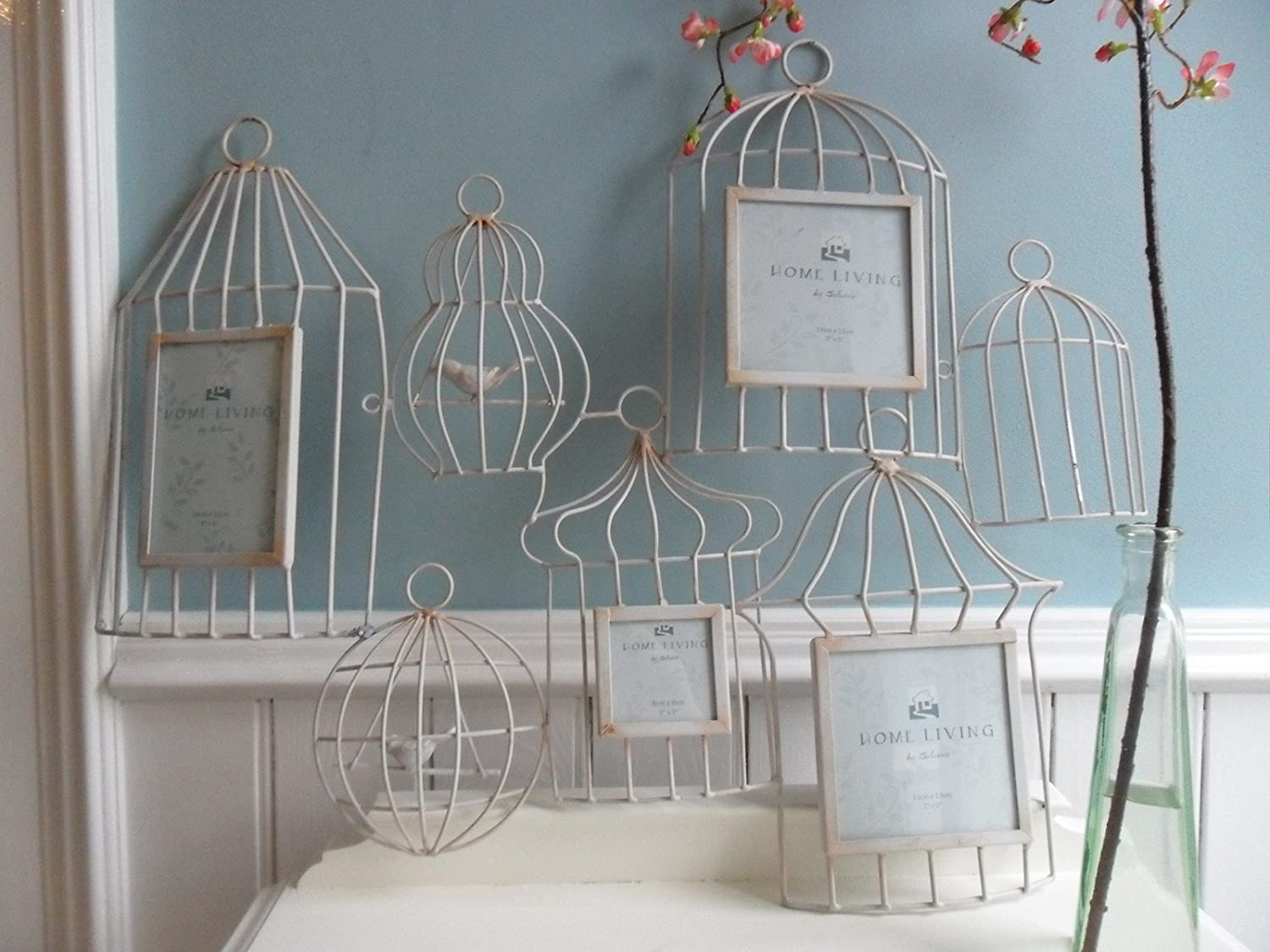 CREAM PAINT METAL WALL ART PICTURE FRAME COLLAGE SHABBY CHIC BIRD ...